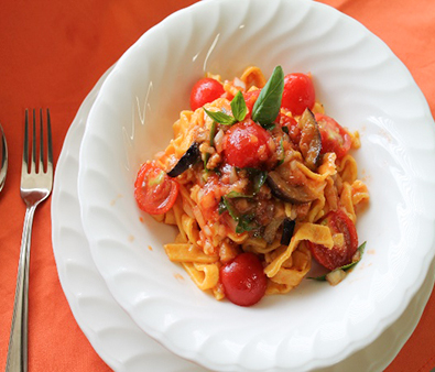 Cold Tomato Pasta made from Harvested Tomatoes
