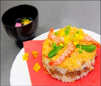 Rape Blossom Sushi Cake
